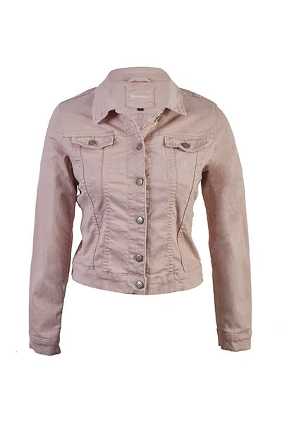 Vassalli Distressed Denim Jacket In French Rose 2017