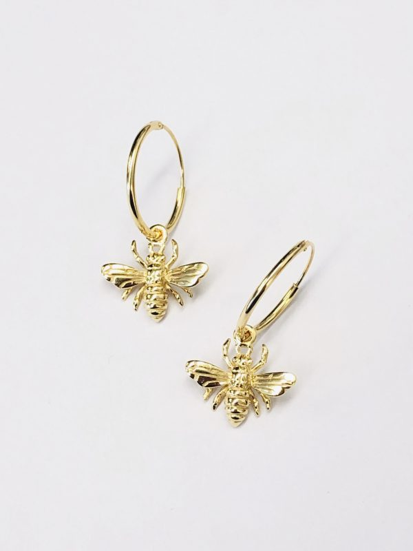 Some 18k Gold Plated Bee on Hoop Earrings 218