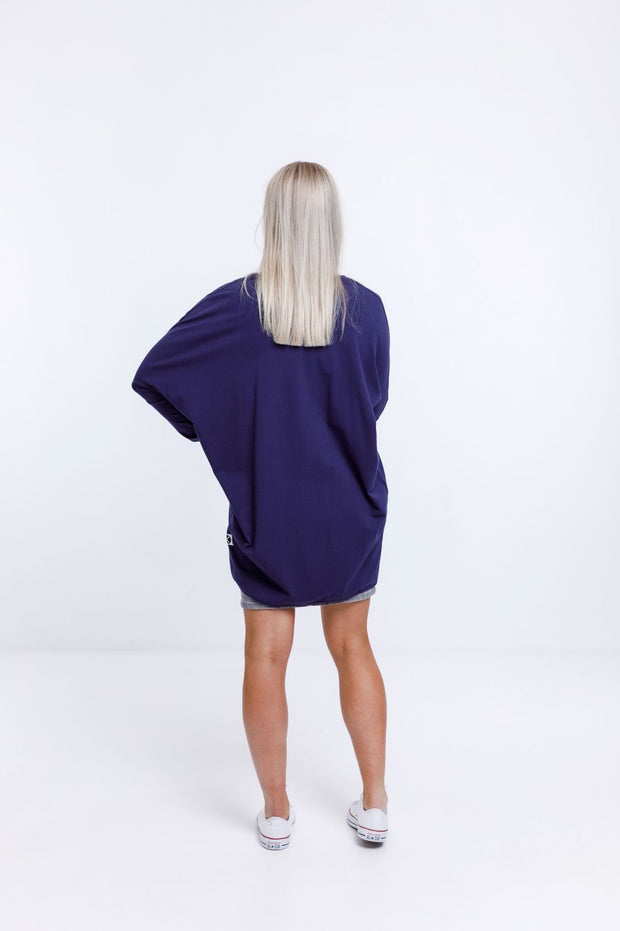 Home Lee Long Sleeve Kimono Evening Blue with X Outline HL14323