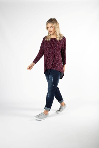 Betty Basics Milan 3/4 Sleeve Top in Abstract Heart