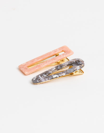 Stella and Gemma Hair Slides 2 pack Pink Grey 7086