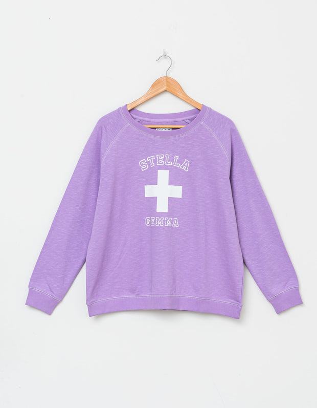 Stella and Gemma Lilac Varsity Logo Sweater 3081