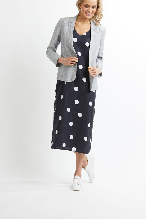 Oh Three Navy Spot V Neck Linen Midi Dress TP12004