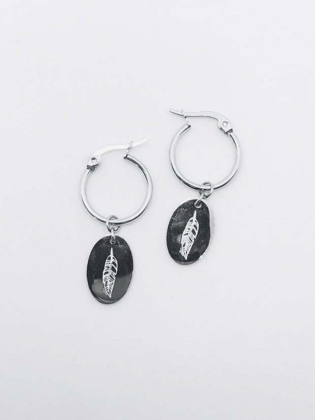 Some Silver Coloured  Feather Disc Earrings EE 270