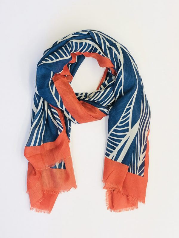 Some Stylised Leaf Scarf Blue 147