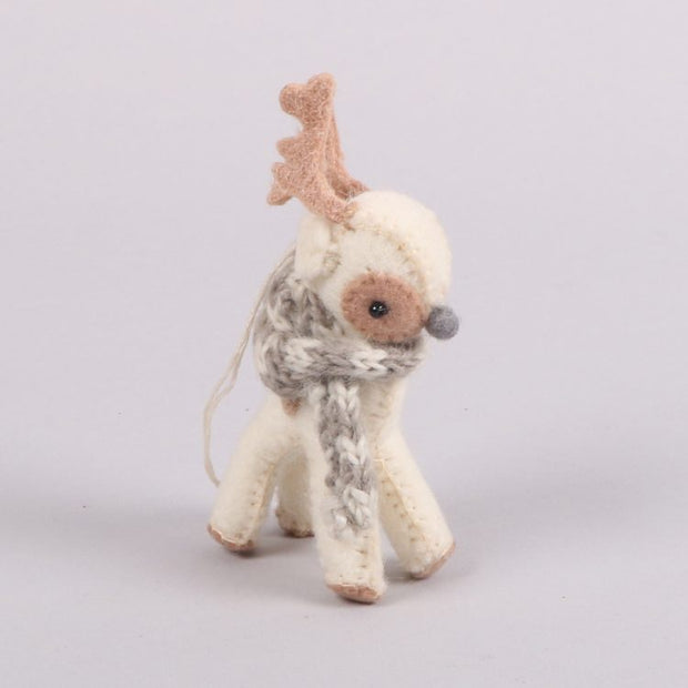 Trade Aid Cream Felt Reindeer Decoration