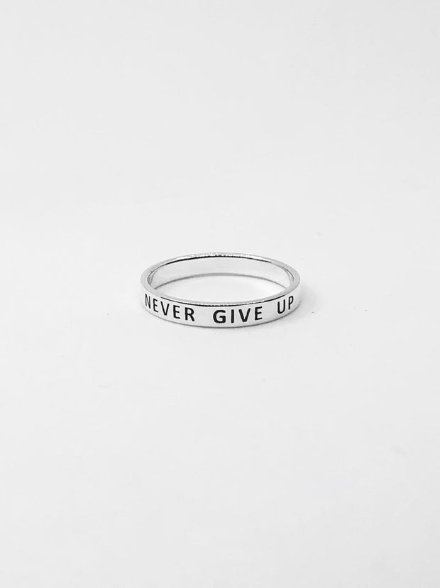 "Some Sterling Silver ""Never Give Up"" Ring 012"