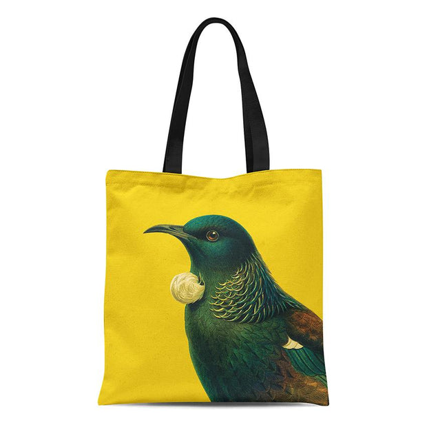 100% NZ Bright Tui Tote Bag Yellow