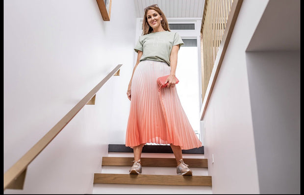Stella and Gemma Pleat Skirt Watermelon/White Ombre 302