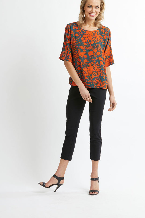 Preen Silhouette Floral Boat Neck Top TP11978