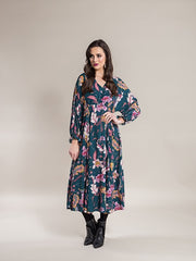 Vassalli Romance – Long Sleeve Batwing Dress with V Neck 6061