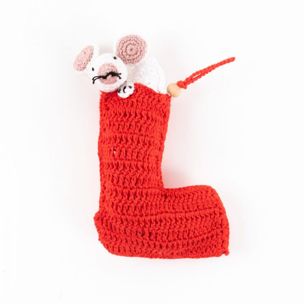 Trade Aid Crochet Stocking with Mouse 09.33.103