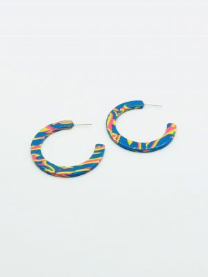 Some 45mm Resin Loop Earrings Blue with yellow and pink 709