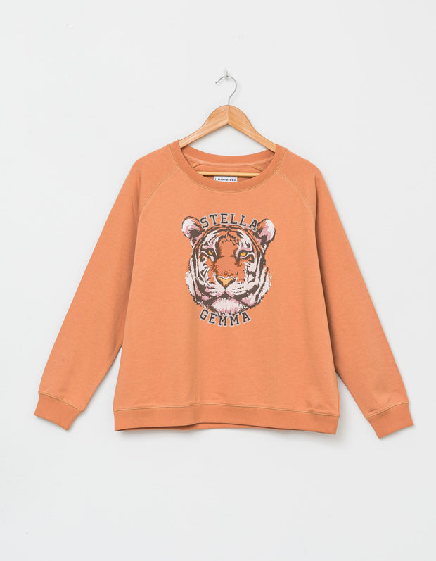 Stella and Gemma Sweater Amber Tiger Logo 3100