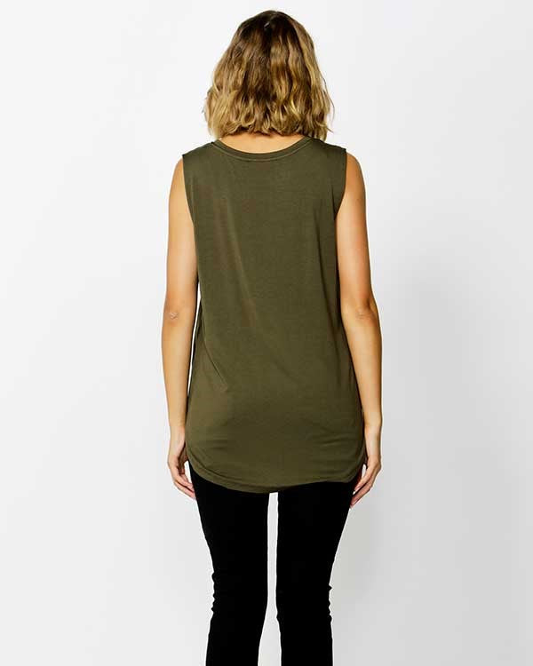 Betty Basics Capri Tank in Olive