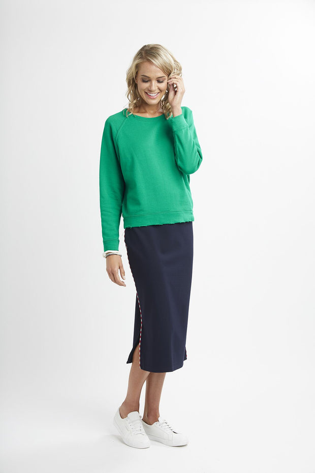 Esplanade Ponti Midi Pencil Skirt Navy with Stripe Trim TP11280