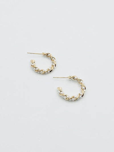Some Twisted Gold Pearl Hoop Earrings 228
