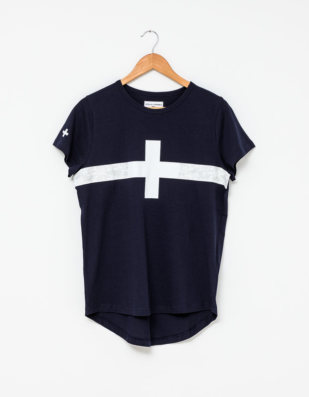 Stella and Gemma Tee Navy with Camo Stripe 3054