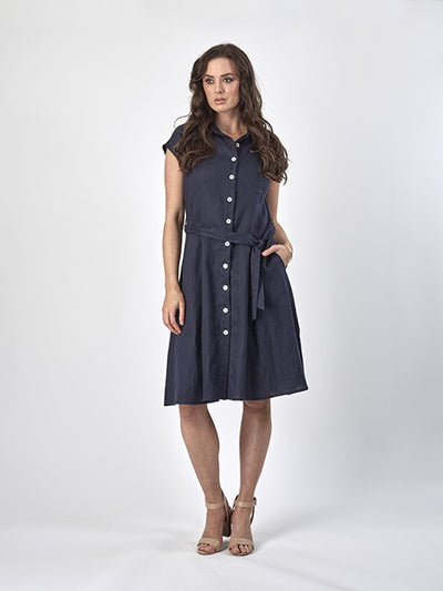 Vassalli Drop Shoulder Button Through Dress with Belt in Navy 6052