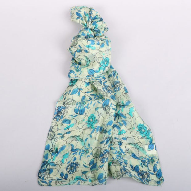 Trade Aid Green and blue floral silk scarf 09.22.3903