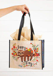 Gift Bag Recycle Lge Happy Sloth Floral 120
