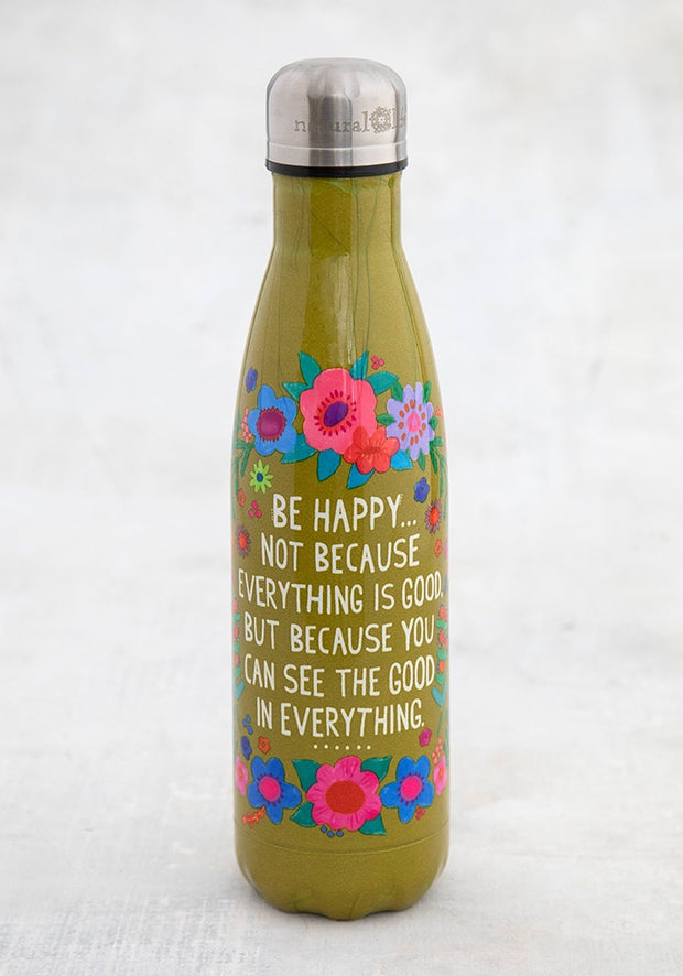 Natural Life Water Bottle Stainless Steel Double Wall Be Happy 076