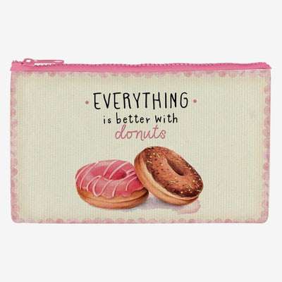 Legami Zipper Pouch Purse Large Everything is Better with Donuts