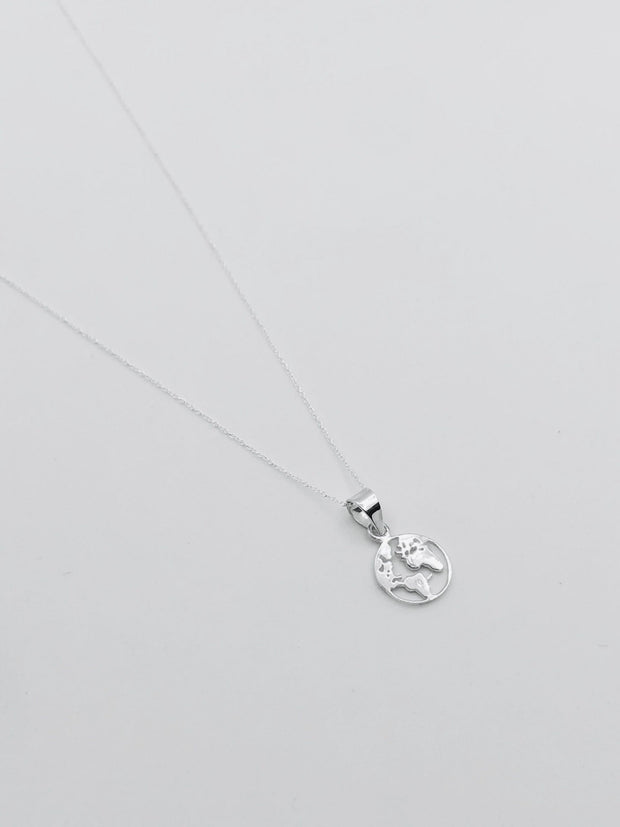Sterling Silver World Charm Necklace 905