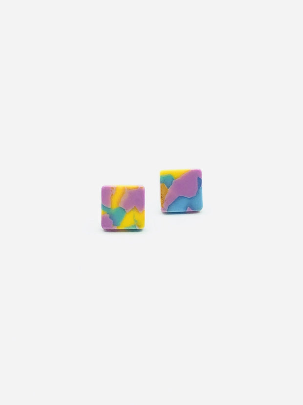 Some Resin Box Stud Earrings 946 G Blue, Yellow and Pink