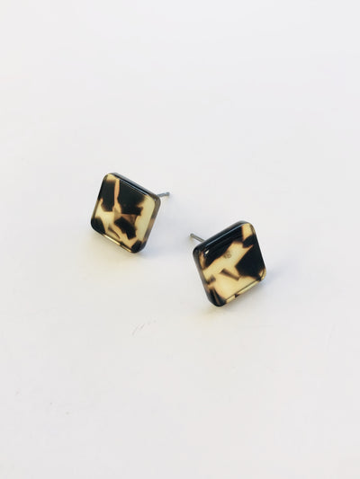 Some Tortoiseshell Box Square Earrings 946