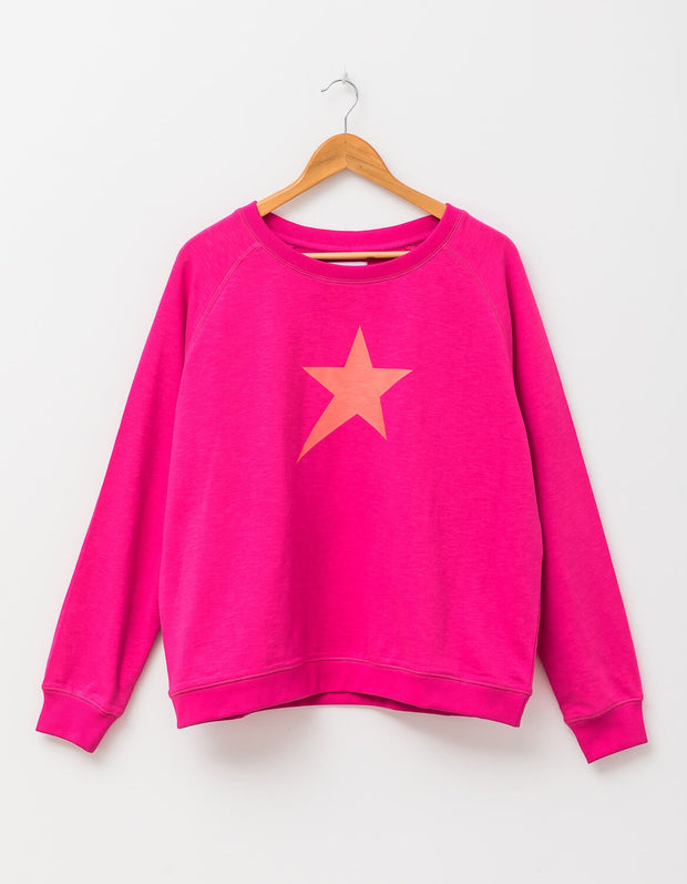 Stella and Gemma Sweater Pop Sugar Pink with Star 3009
