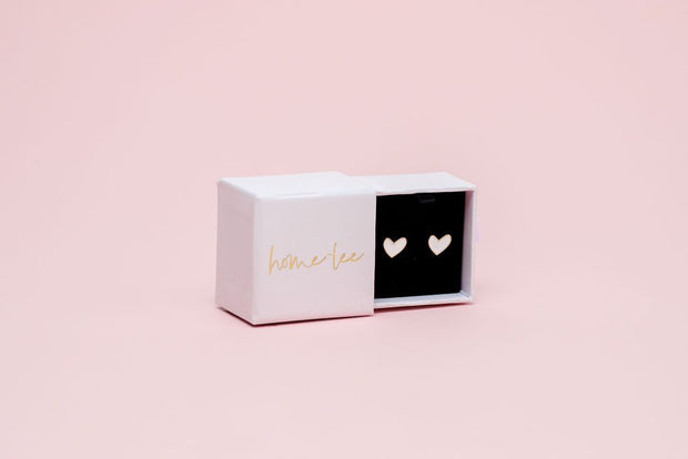 Home Lee Heart Stud Earrings White 001