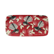 DQ Bamboo Tray Flirting Fantails Red