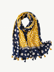 Some Spotty Dots Mustard/Blue Scarf 145