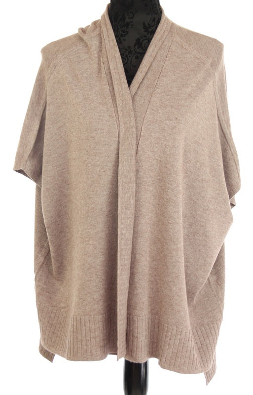 Amberlene Rib Border Cape Cardi in Taupe 177