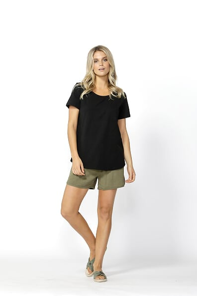 Betty Basics Demi Scoop Tee in Black