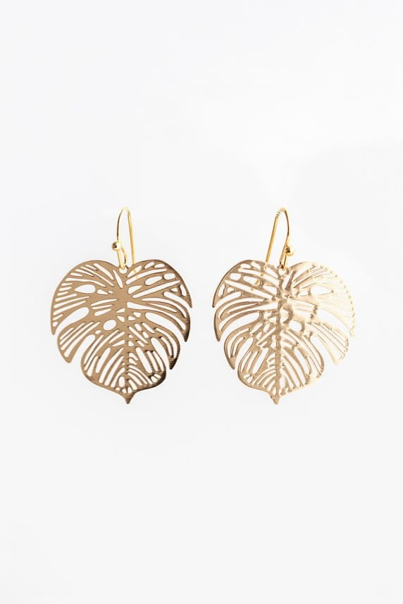 Stilen Monstera Gold Earrings