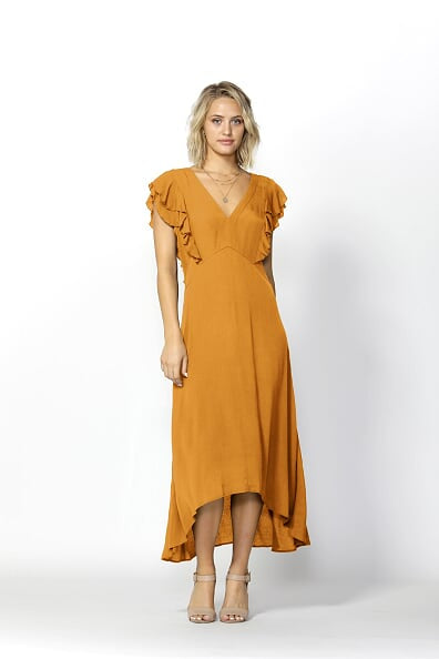 Fate and Becker Monroe Linen Blend Dress in Mellow Yellow