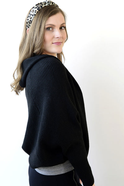 Archer House Hooded Batwing Cardigan Black 32