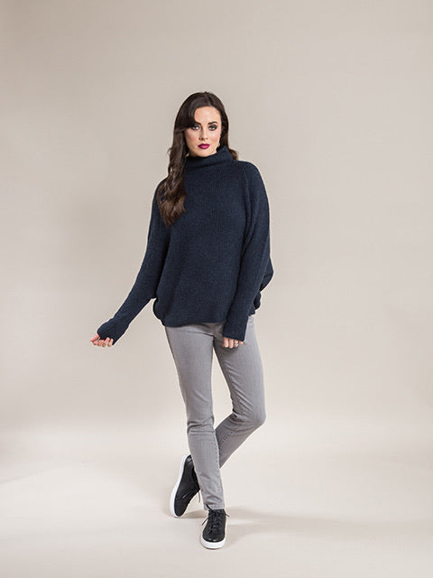 Vassalli High Neck Batwing Jumper in Storm 1042