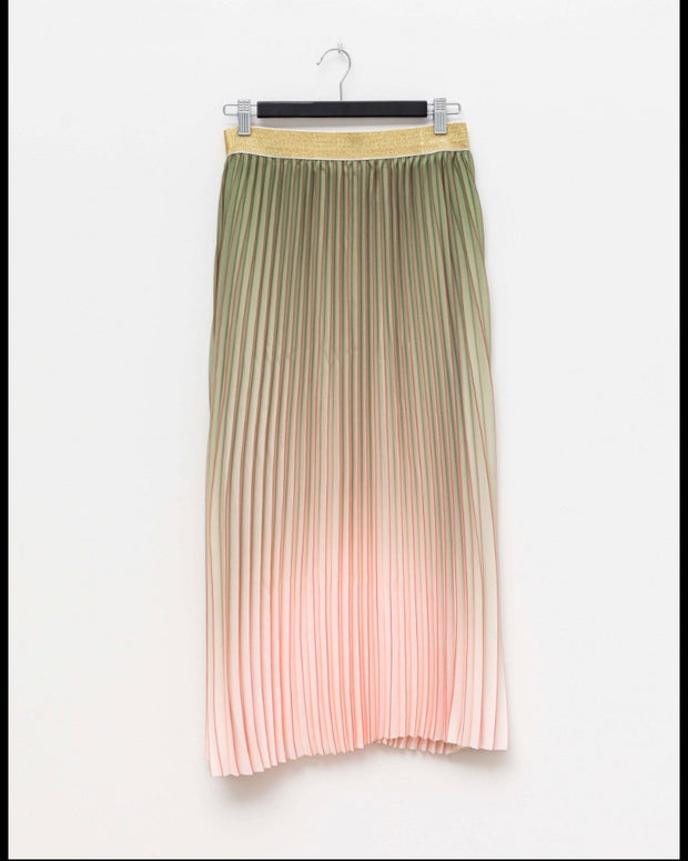 Stella and Gemma Pleat Skirt Chive/Rose Ombre 301
