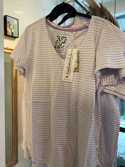 Elm Re Mi Stripe Vee Tee in Lilac