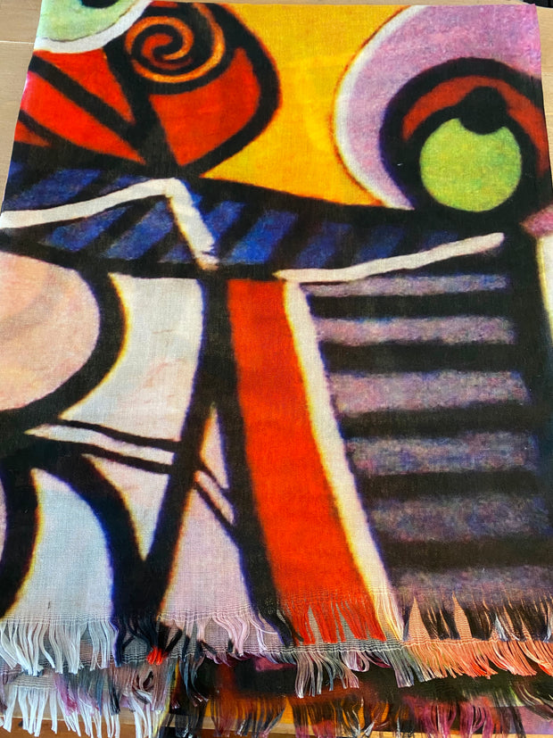 Archer House Picasso Inspired Abstract Print Scarf 589