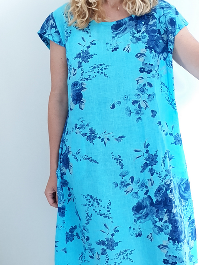 Helga May Bright Turquoise Porcelain Kennedy Dress Large 100672