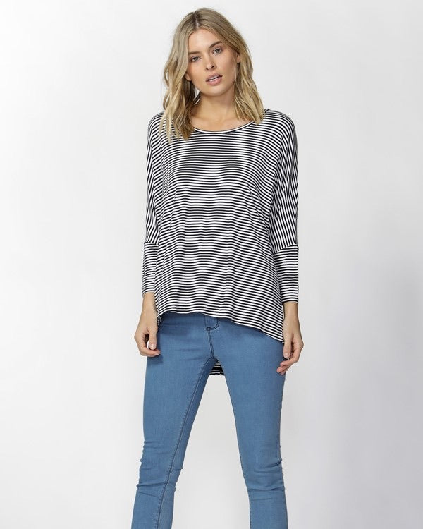 Betty Basics Milan 3/4 Tee in Navy White Stripe BB522