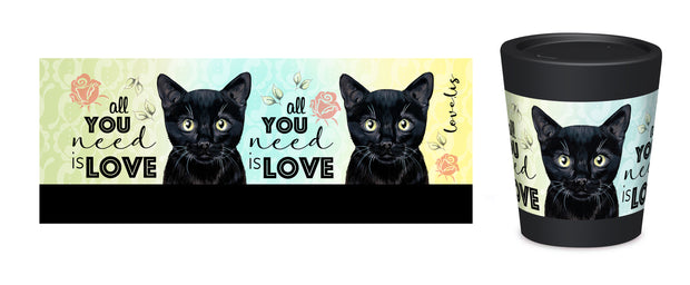 Cuppa Coffee Cup Small 8oz 6004 Cat All You Need is Love – Designed by NZ Artist Love Lis NZ