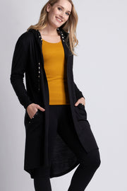 Foil Black / Spot Longline Swing Cardi with Hood TP12062