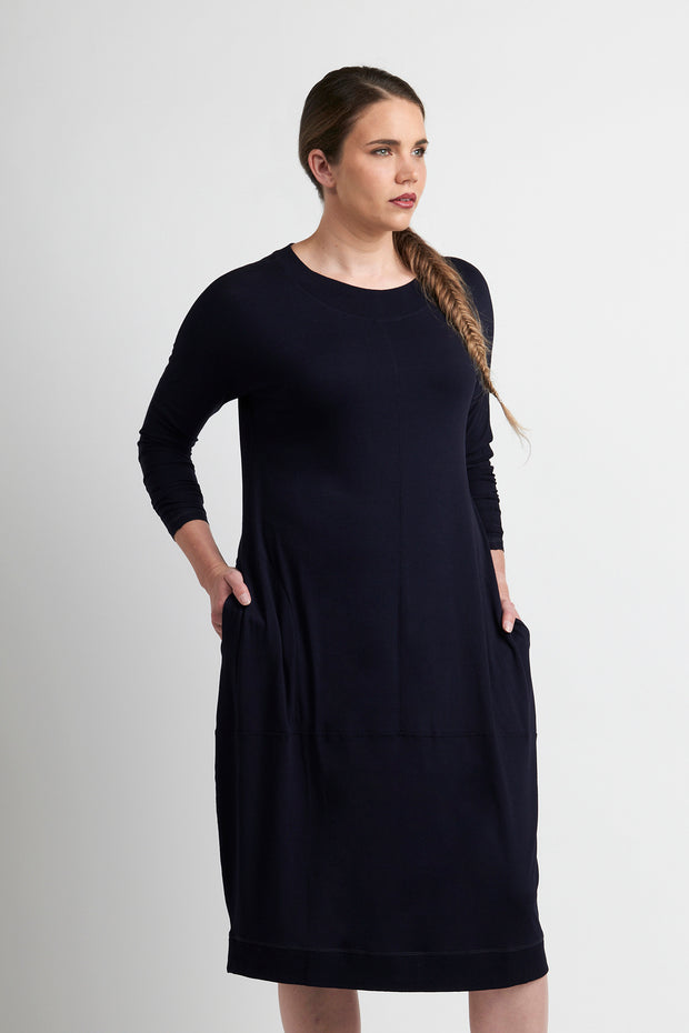 Esplanade Navy Cocoon Dress with Pockets TP11045