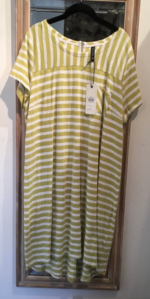 Memo Stripe T-Shirt Dress with Chest Pocket TP8007