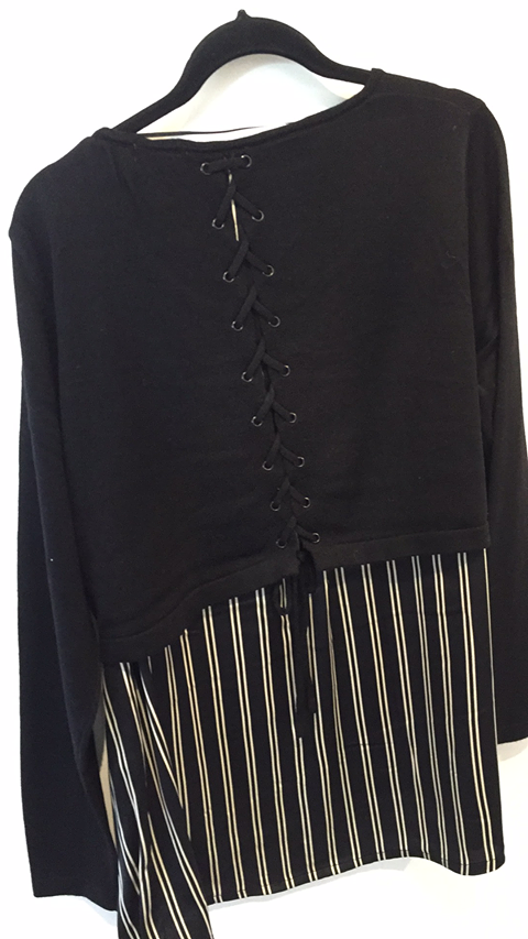 Memo Lace Up Back Detail Top in Stripe / Black TP11994